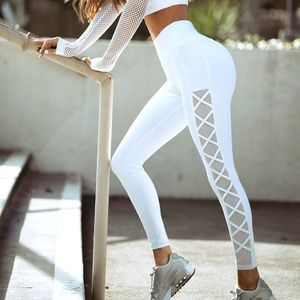 NEW Side Lace-up Mesh Workout Leggings
